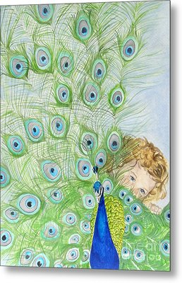 Mika And Peacock Metal Print