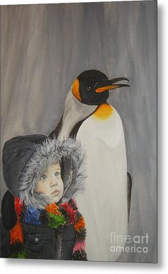 Mika And Penguin Metal Print
