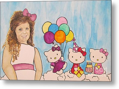 Metal Print featuring the painting Mika Hello Kitty by Tamir Barkan
