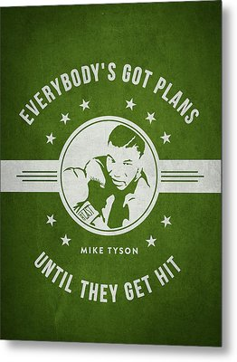 Mike Tyson - Green Metal Print by Aged Pixel