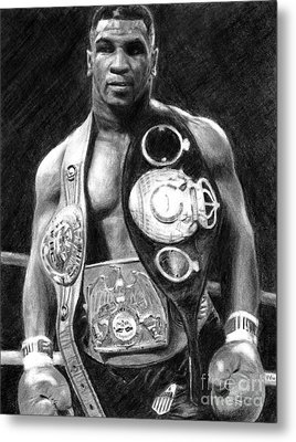 Mike Tyson Pencil Drawing Metal Print
