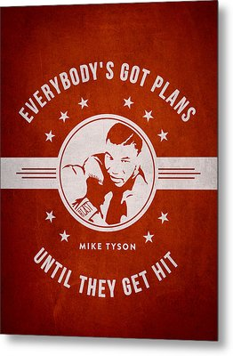 Mike Tyson - Red Metal Print by Aged Pixel