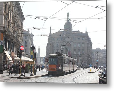 Milan Tram Metal Print by David Grant