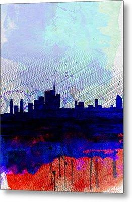 Milan Watercolor Skyline Metal Print by Naxart Studio