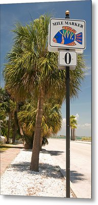 Mile Marker Zero At Pass-a-grille, St Metal Print