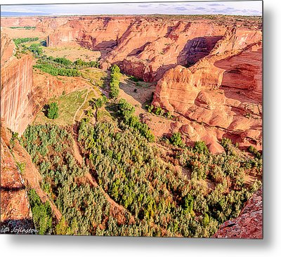 Miles To Go In Canyon De Chelly Metal Print by Bob and Nadine Johnston