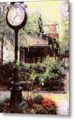 Milford Jewelry Square Clock Metal Print by Janine Riley