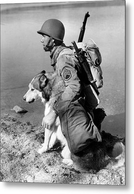 Military Soldier And Dog Vintage  Metal Print by Retro Images Archive
