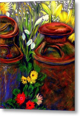Metal Print featuring the pastel Milk Cans At Flower Show Sold by Antonia Citrino