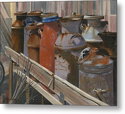 Milk Cans Metal Print by John Wyckoff