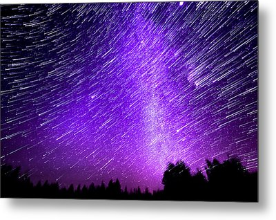 Milky Way And Star Trails Metal Print by Aaron Priest