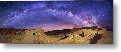 Milky Way Over Chaco Canyon Ruins Metal Print by Walter Pacholka, Astropics