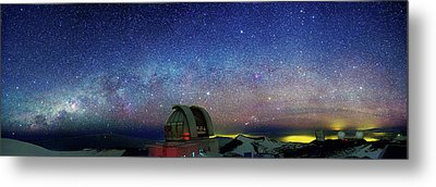 Milky Way Over Telescopes On Hawaii Metal Print by Walter Pacholka, Astropics