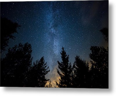 Milky Way Over The Forest Metal Print
