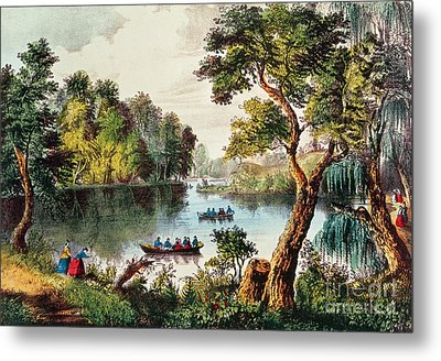 Mill Cove Lake Metal Print by Currier and Ives