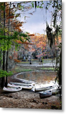 Metal Print featuring the photograph Mill Pond Canoes by Lana Trussell