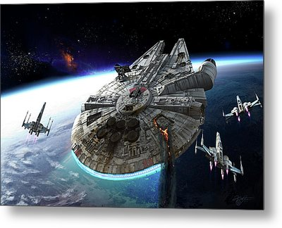 Millenium Falcon Being Escorted Metal Print by Kurt Miller