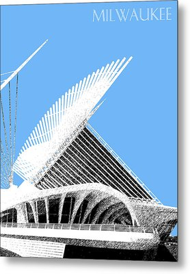 Milwaukee Skyline Art Museum - Light Blue Metal Print