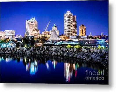 Milwaukee Skyline At Night Photo In Blue Metal Print