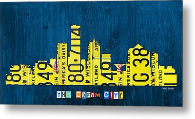 Milwaukee Wisconsin City Skyline License Plate Art Vintage On Wood Metal Print by Design Turnpike