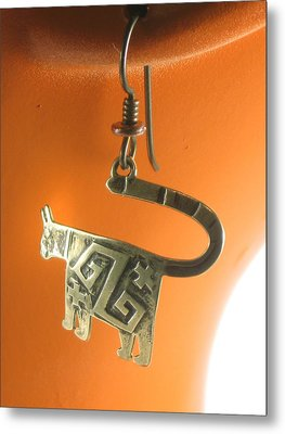 Mimbres Jaguar Southwest Bronze Earrings Metal Print by Vagabond Folk Art - Virginia Vivier