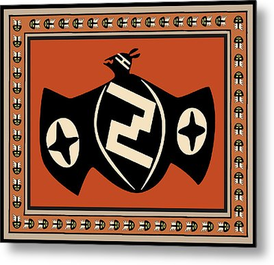 Metal Print featuring the digital art Mimbres Tribal Bat Spirit by Vagabond Folk Art - Virginia Vivier