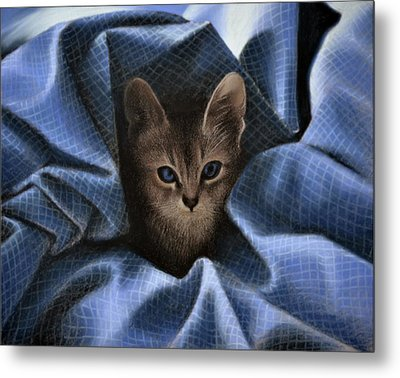 Mimi In The Sheets - Pastel Metal Print
