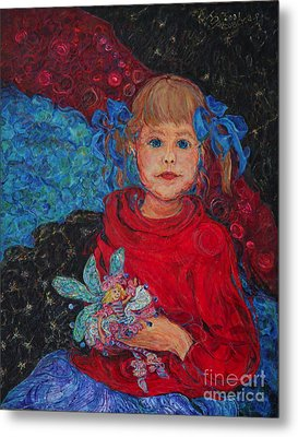 Mimi With Her Thumbelina Doll Metal Print