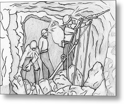Miners At Work Metal Print