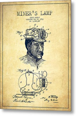 Miners Lamp Patent Drawing From 1913 - Vintage Metal Print by Aged Pixel