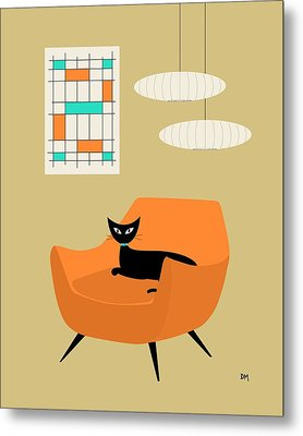Mini Abstract With Orange Chair Metal Print
