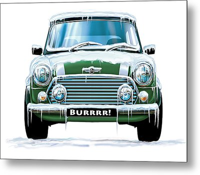 Mini Cooper On Ice Metal Print by David Kyte