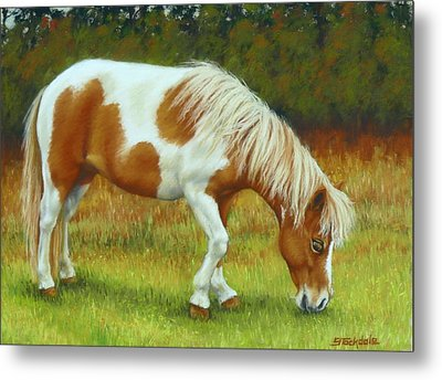 Metal Print featuring the pastel Mini Mare Pastel by Margaret Stockdale