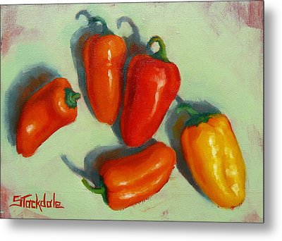 Metal Print featuring the painting Mini Peppers Study 1 by Margaret Stockdale