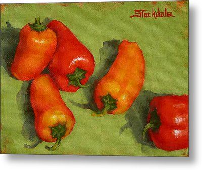 Metal Print featuring the painting Mini Peppers Study 2 by Margaret Stockdale