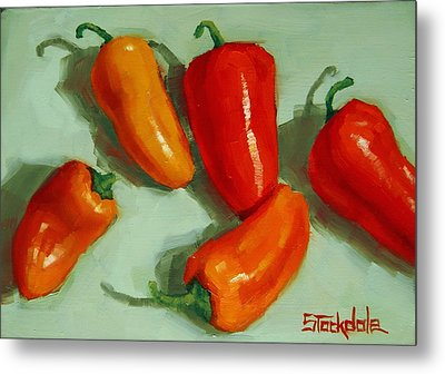 Mini Peppers Study 3 Metal Print by Margaret Stockdale