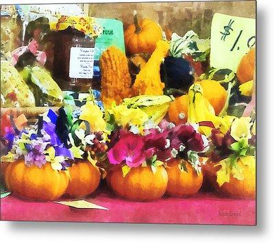 Mini Pumpkins And Gourds At Farmer's Market Metal Print