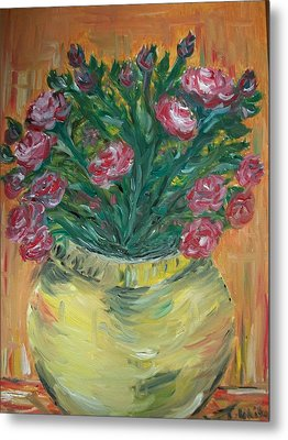 Metal Print featuring the painting Mini Roses by Teresa White
