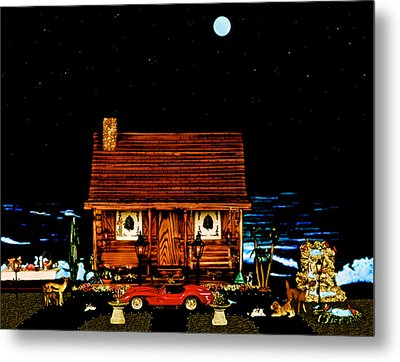 Miniature Log Cabin Scene With The Classic 1958 Ferrari 250 Testa Rossa In Color Metal Print by Leslie Crotty