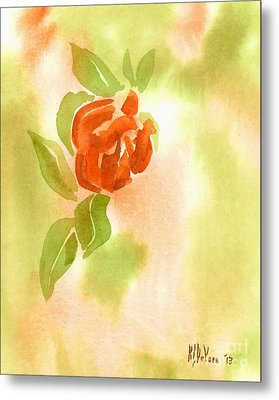 Metal Print featuring the painting Miniature Red Rose II by Kip DeVore