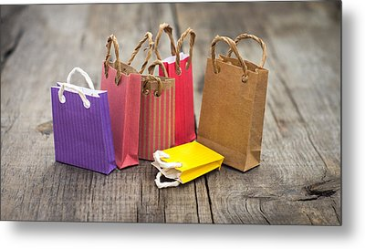 Miniature Shopping Bags Metal Print by Aged Pixel