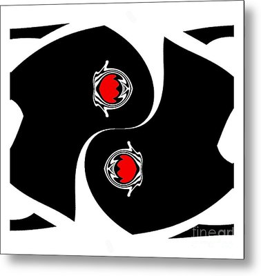 Minimalist Art Black White Red Geometric Abstract Print No.139. Metal Print by Drinka Mercep