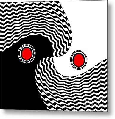 Minimalist Op Art Black White Red No.216 Metal Print by Drinka Mercep
