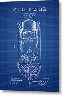 Mining Machine Patent From 1914- Blueprint Metal Print
