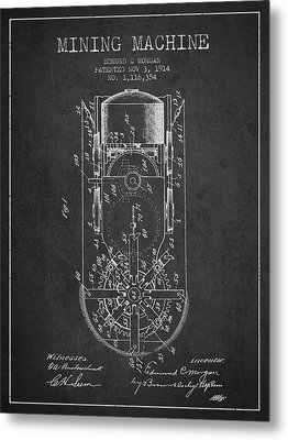 Mining Machine Patent From 1914- Charcoal Metal Print