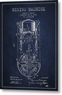 Mining Machine Patent From 1914- Navy Blue Metal Print by Aged Pixel