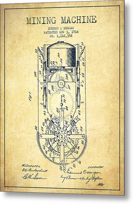 Mining Machine Patent From 1914- Vintage Metal Print by Aged Pixel