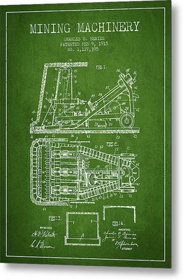 Mining Machinery Patent From 1915- Green Metal Print by Aged Pixel