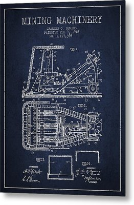Mining Machinery Patent From 1915- Navy Blue Metal Print by Aged Pixel