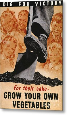 Ministry Of Agriculture 1940s Uk Spades Metal Print by The Advertising Archives